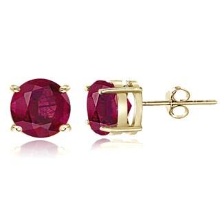 Glitzy Rocks Sterling Silver 8 mm Glass-filled Ruby Stud Earrings