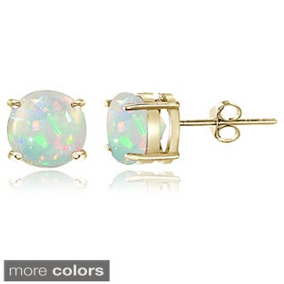 Glitzy Rocks Sterling Silver 8 mm Ethiopian Opal Stud Earrings