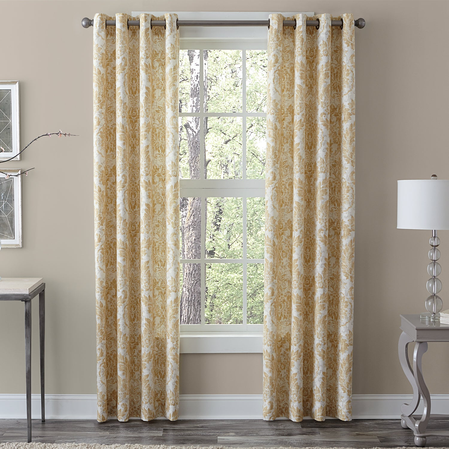 Grommet Window Curtain Panels Light Gray with Ivory Medallion 2 Set of Two