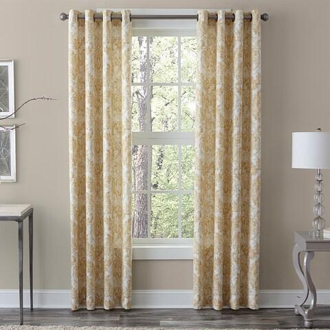 Grand Luxe 100-percent Linen Medallion Window Curtain Panel