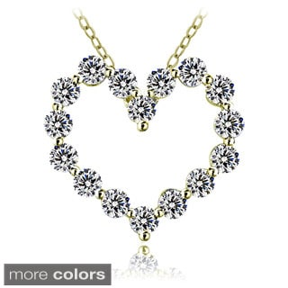 ICZ Stonez Sterling Silver 100-facet Cubic Zirconia Heart Necklace