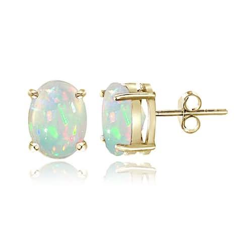 Glitzy Rocks Sterling Silver Ethiopian Opal Oval Stud Earrings