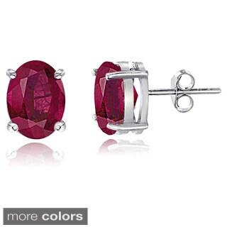Glitzy Rocks Sterling Silver Glass-filled Ruby Oval Stud Earrings