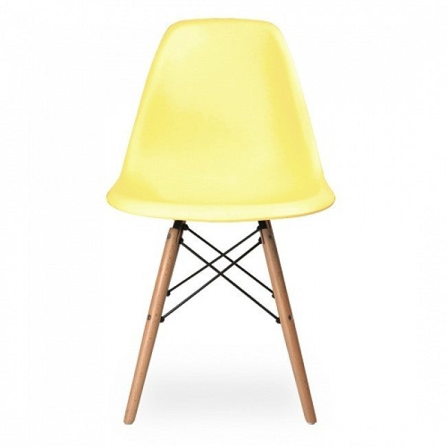 Contemporary Retro Molded Style Light Yellow Accent Plast...