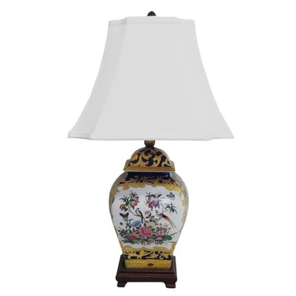 Royal Medallion Square Porcelain Cover Jar Lamp