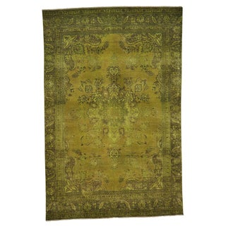 Overdyed Persian Worn Tabriz Oriental Hand-knotted  Area Rug (7'1 x 11')
