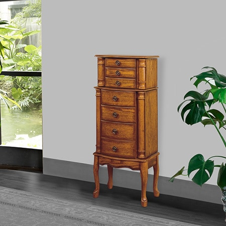 Powell Kimberly Woodland Oak Jewelry Armoire   Overpacked