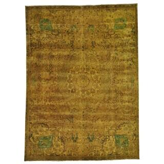 Handmade Gold Overdyed Worn Persian Tabriz Oriental  Area Rug (7'3 x 10')
