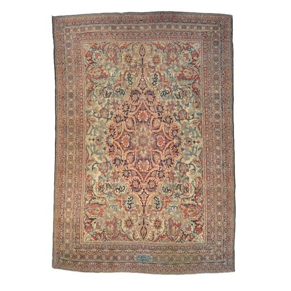 Handmade Oversized Signed Antique Lavar Kerman Area Rug