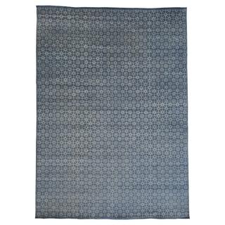 Modern Handmade Wool and Viscose Rayon from Bamboo Oriental Area Rug (10' x 14')