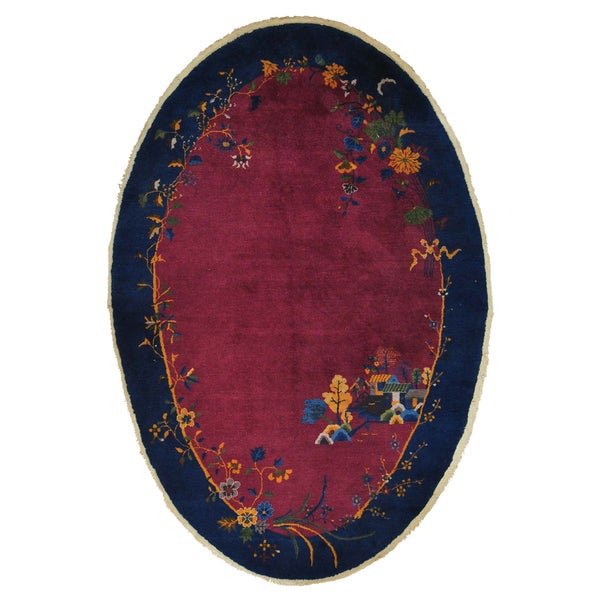 Antique Chinese Art Deco Oval Handmade Oriental Area Rug (6' x 8'10)