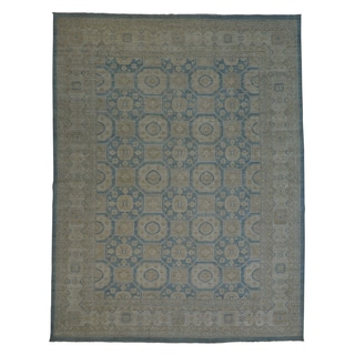 Oversize Hand-knotted Khotan Oriental Silver Wash Area Rug (12'1 x 15'9)