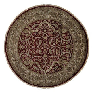 Round Tabriz Hand-knotted Oriental 100 Percent Wool Area Rug (9'2 x 9'2)
