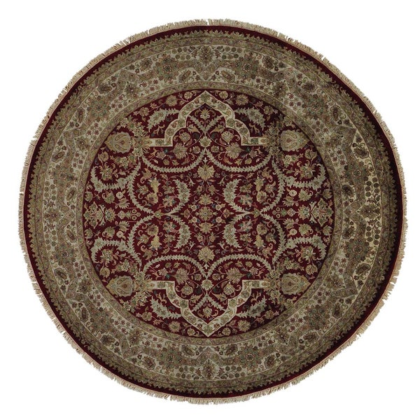 Round Tabriz Hand-knotted Oriental 100 Percent Wool Area Rug - 9'2 x 9'2