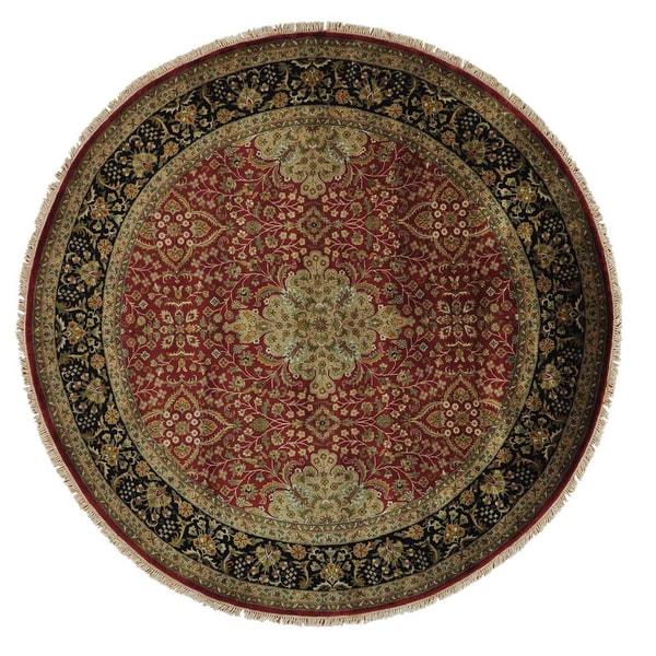 New Zealand Wool Round Kashan Revival Handmade Oriental Area Rug (8' x 8')