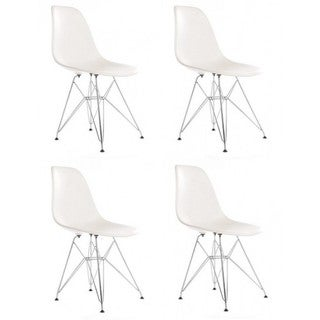 Retro Molded White Plastic Dining Shell Chair with Steel Eiffel Legs (Set of 4)