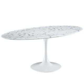 Lippa 78-inch White Stone-top Laquered Dining Table