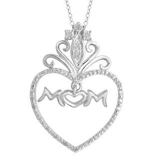Divina Sterling Silver 1/6ct TDW Diamond Heart 'Mom' Pendant (H-I, I2-I3)