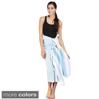 Handmade Women's Striped Cotton Fouta Sarong Wrap (India)