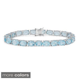 Sterling Silver Oval Gemstone Bracelet