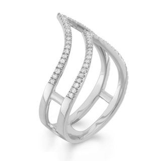 14k White Gold 3/8ct TDW Split Shank Diamond Ring