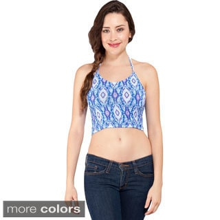 Women's Petite Smocked Geometric Halter Crop Top (Indonesia)