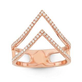 14k Rose Gold 3/8ct TDW White Diamond Double 'V' Fashion Ring (G-H, I1-I2)