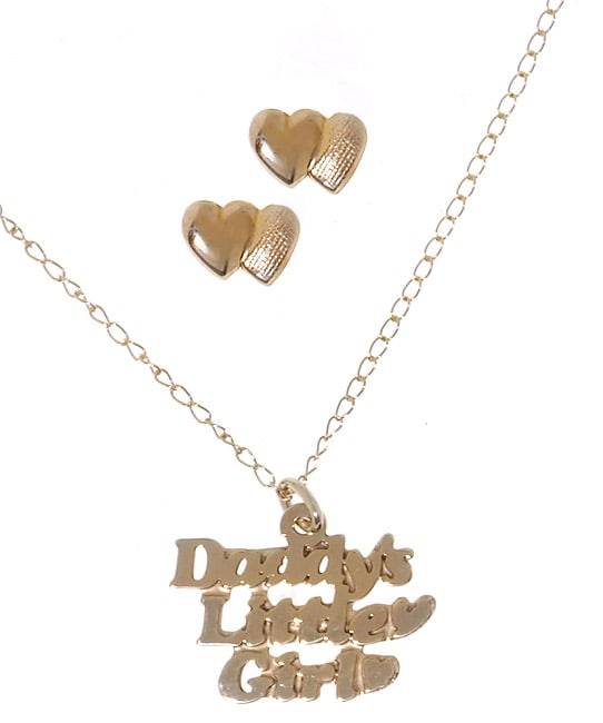 14k Gold Daddy's Little Girl Pendant & Earring Set