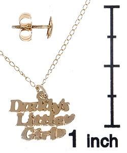 14k Gold Daddy's Little Girl Pendant & Earring Set - Thumbnail 2