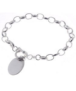 Sterling Essentials Sterling Silver Oval ID Tag Bracelet