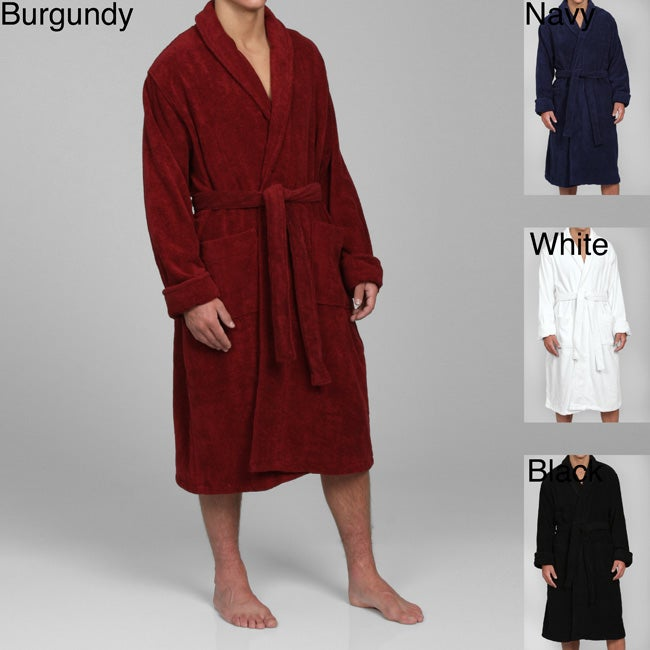 Alexander Del Rossa Men's Terry Cotton Bath Robe - Thumbnail 0