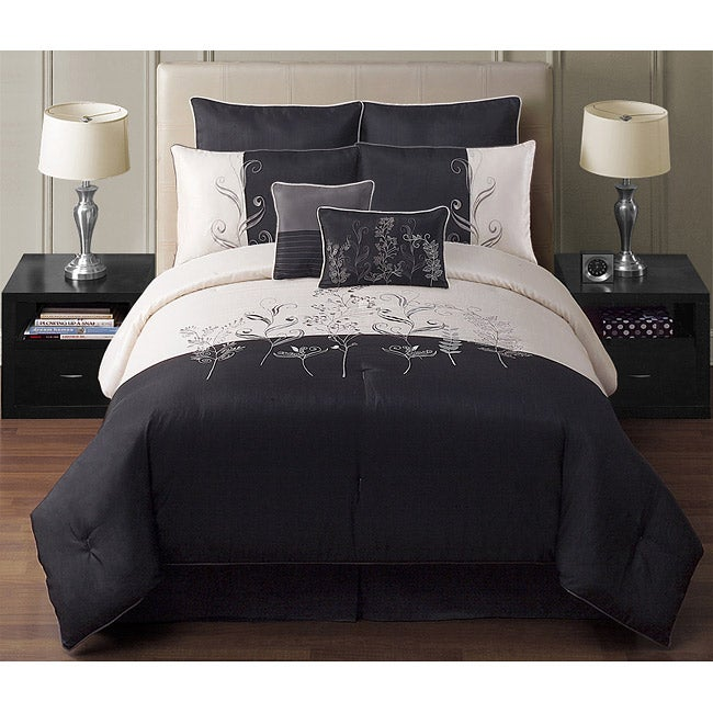 VCNY Amelia Black/ White Embroidered 8-piece Queen Comforter Set