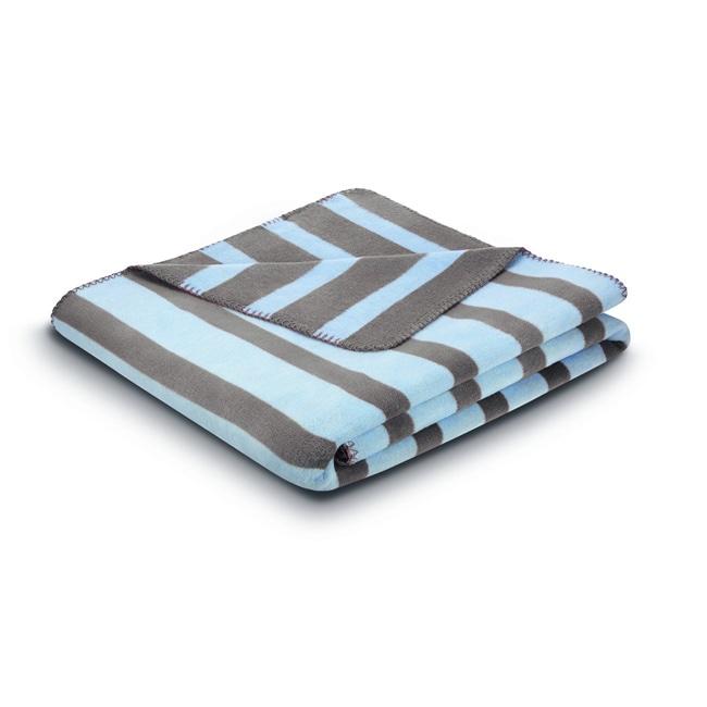 Bocasa French Stripes Baby Blue Blanket