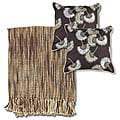 Brown/ Grey Throw Blanket and Decorative Pillows