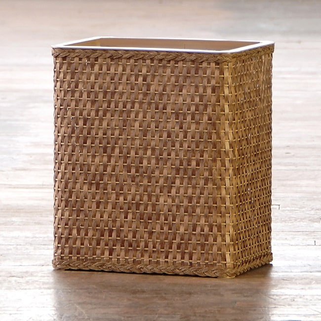 'Carter' Cappuccino Rectangular Woven Wastebasket