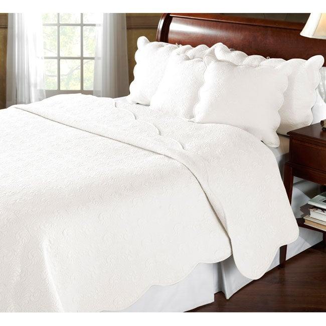 Cecilia Whisper White 3-piece Quilt Set