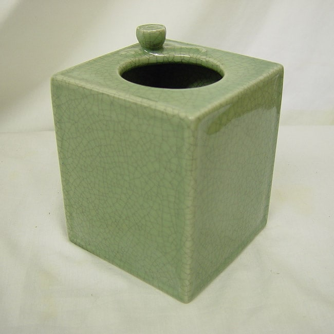 Celadon Green Crackle Porcelain Tissue Box