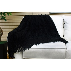 Susan Luxury Black Chenille Throw With Fringe Free
