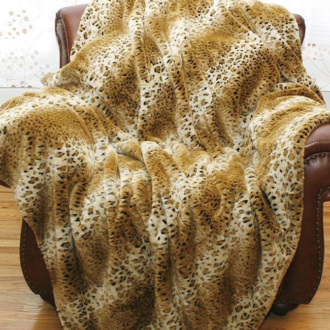 Cheetah Faux Fur Throw Blanket (58 in. x 60 in.) - Thumbnail 0