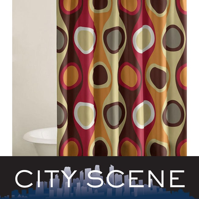 City Scene Retro Radar Red Shower Curtain