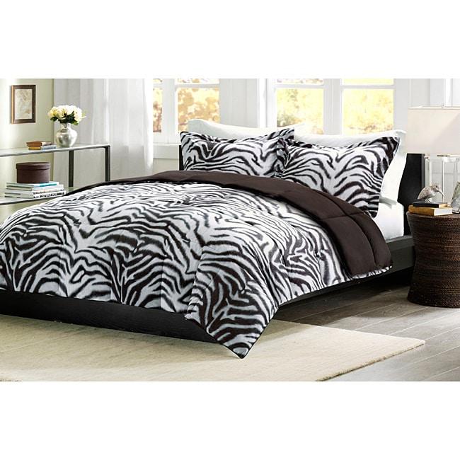 Comfort Classic Zebra King-size Down Alternative Comforter and Sham Set
