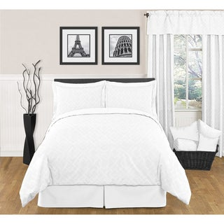 Sweet JoJo Designs White Diamond 3-piece King-size Bedding Set