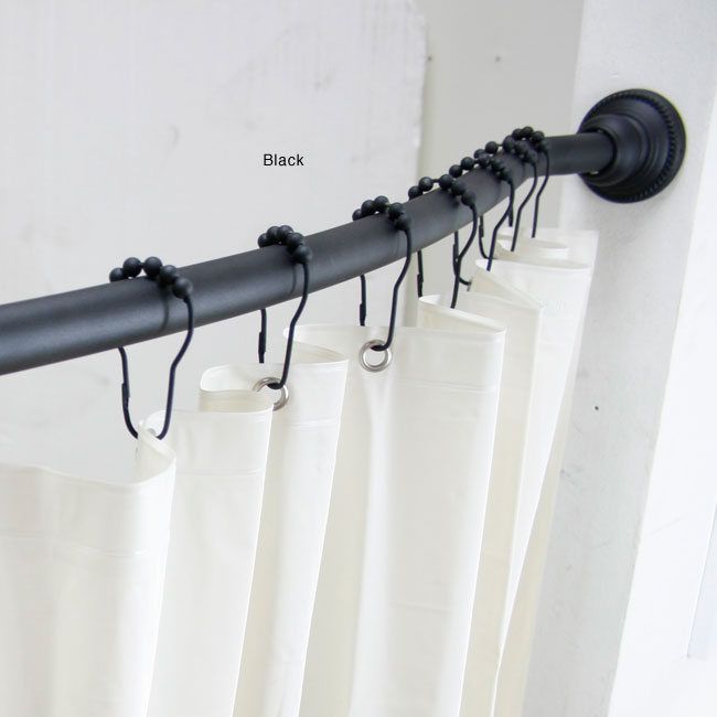 Curtains Ideas curtain hanger hooks : Curved Adjustable Shower Rod with Vinyl Shower Liner and Hooks Set ...