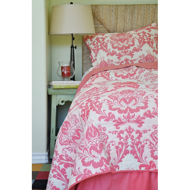 Damask Coral Twin Size 2-piece Quilt Set - Free Shipping Today ...