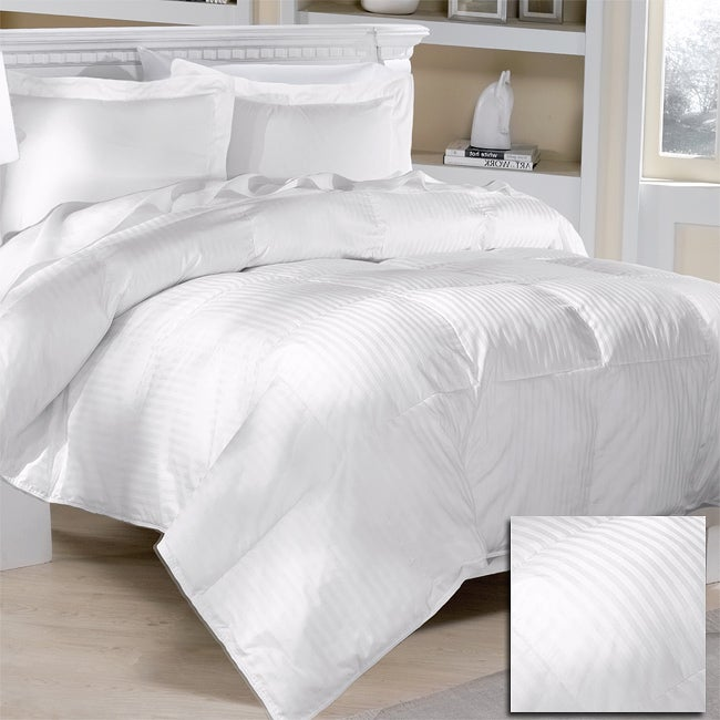 Damask Stripe 284 Thread Count Down Blend Comforter