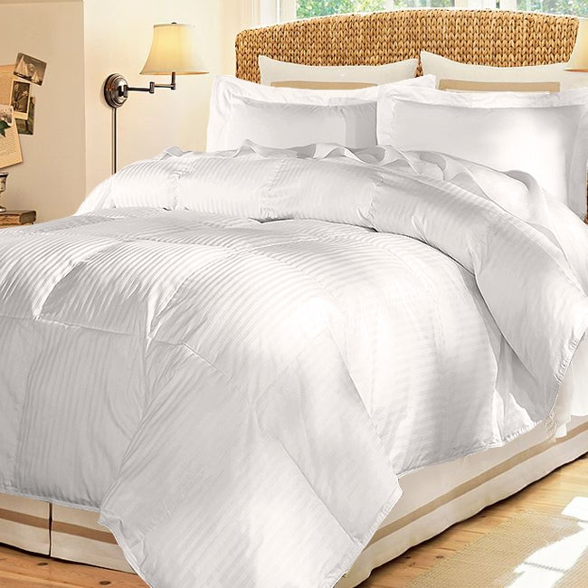 damask stripe 600 fill medium warmth white down comforter free shipping today. Black Bedroom Furniture Sets. Home Design Ideas
