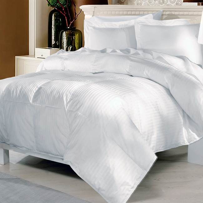 Damask Stripe Premium 284 Thread Count  White Down Comforter