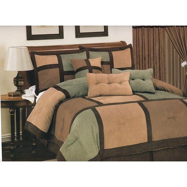 Daren 7-piece Microsuede Sage Comforter Set