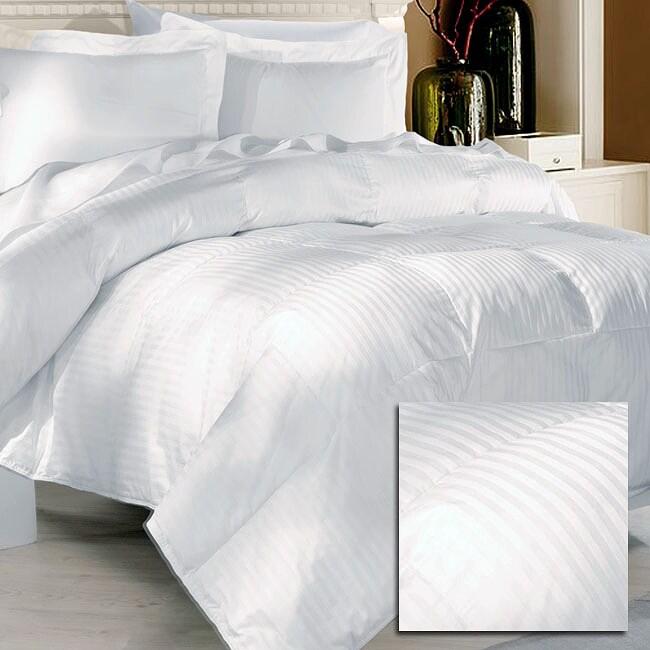 Dobby Stripe 284 Thread Count All-season Down Blend Comforter