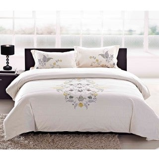 Hyacinth Embroidered King-size 3-piece Duvet Cover Set